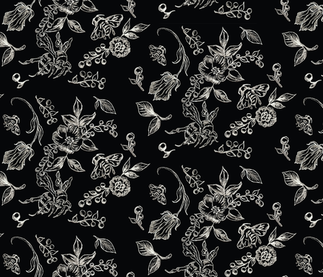 Flowers Bees Inverted fabric by baxtergraham on Spoonflower - custom fabric