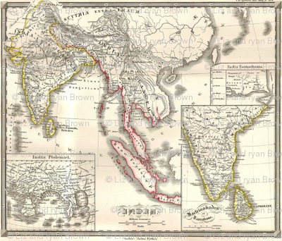 """1855 Map of India & SE Asia (42""""W)"""