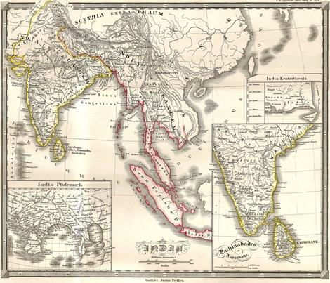 """1855 Map of India & SE Asia (42""""W) fabric by thinlinetextiles on Spoonflower - custom fabric"""