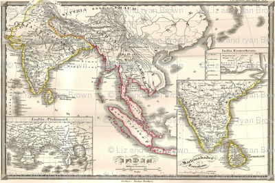 """1855 Map of India & SE Asia (27""""W)"""