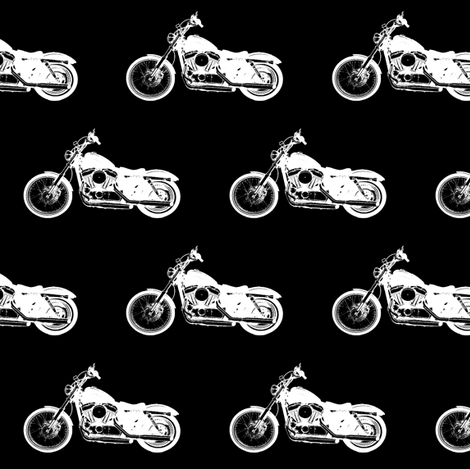 White Harleys // Small fabric by thinlinetextiles on Spoonflower - custom fabric
