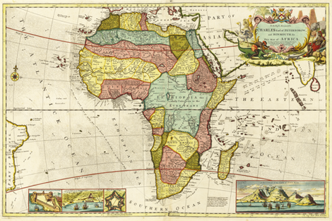 """1710 Map of Africa (54""""W) fabric by thinlinetextiles on Spoonflower - custom fabric"""