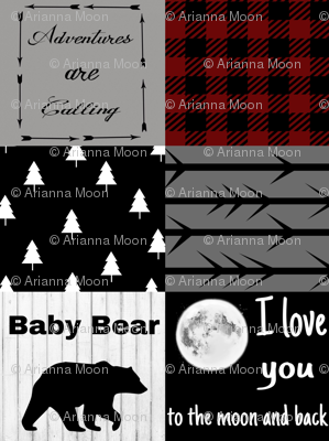 Baby Bear - Love you to the Moon - Maroon Plaid