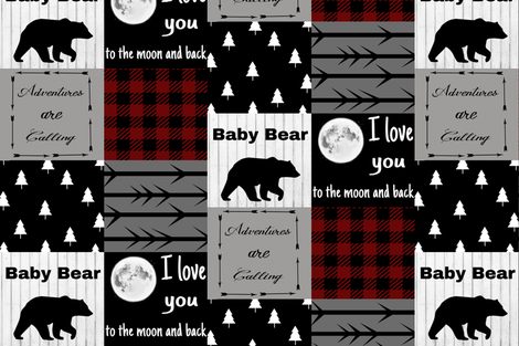 Baby Bear - Love you to the Moon - Maroon Plaid fabric by moonsheets on Spoonflower - custom fabric