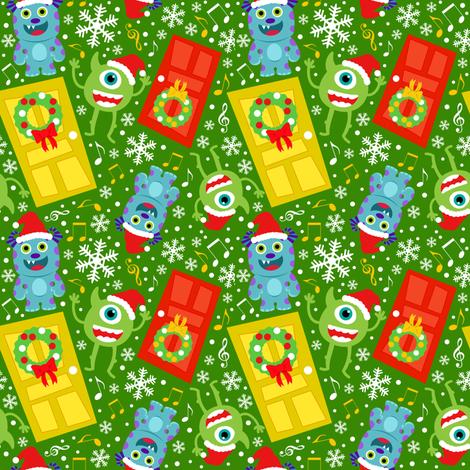 Little Monster Christmas Carols fabric by ejrippy on Spoonflower - custom fabric