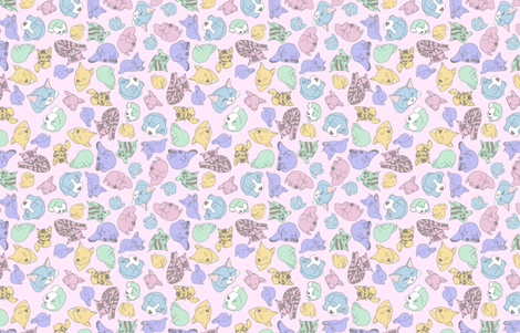 sleepy heads on pink fabric by gothiccolour on Spoonflower - custom fabric