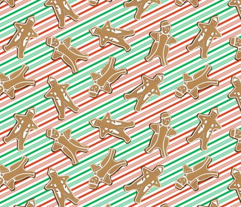 Gingerbread Men Peppermint Stripes fabric by frendi on Spoonflower - custom fabric
