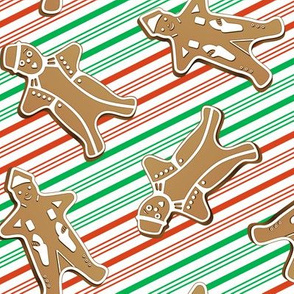 Gingerbread Men Peppermint Stripes