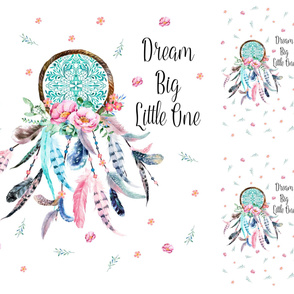 "42x36 / 1 - 29"" x 35"" Panel / 2 - 10""x18"" Panels / Pink & Aqua Dreamcatcher"