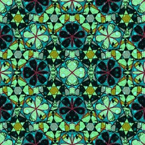 turquoise flowery abstract - medium size