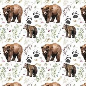 """2.5"""" Watercolor Mama Bear & Cub in the Woods"""