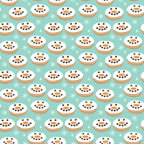 tiny snowman-donuts fabric by lilcubby on Spoonflower - custom fabric