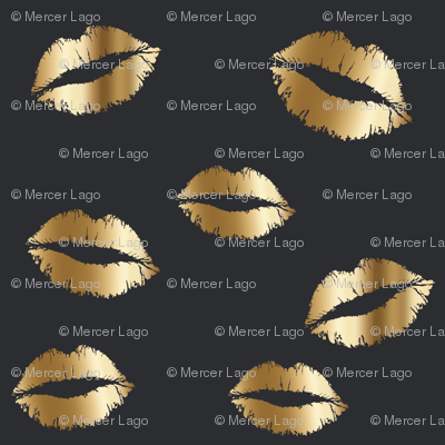 gold lips on graphite grey gray and gold kiss