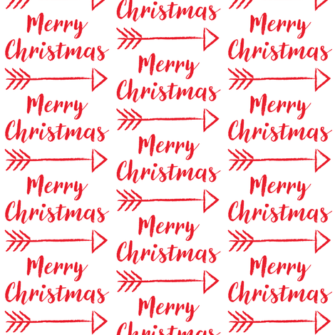 merry-christmas-with-arrow on white fabric by lilcubby on Spoonflower - custom fabric