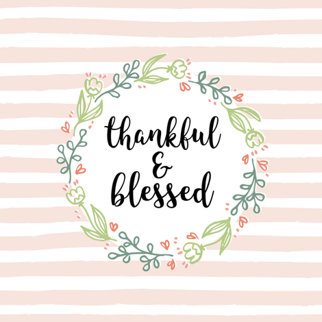Thankful and Blessed Floral Wreath fabric by heatherhightdesign on Spoonflower - custom fabric