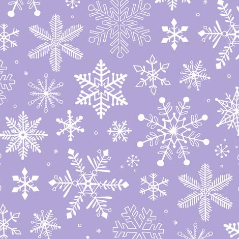 Snowflakes Winter Christmas  on Lavender Purple fabric by caja_design on Spoonflower - custom fabric