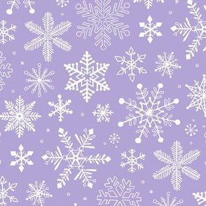 Snowflakes Winter Christmas  on Lavender Purple