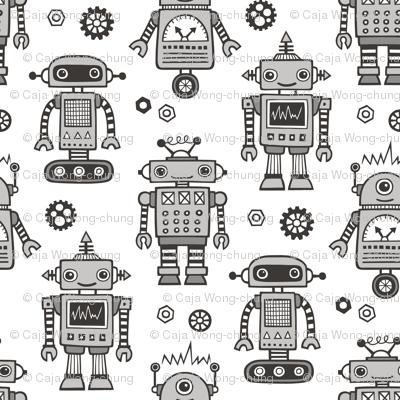 Retro Robots in Black & White Grey on White