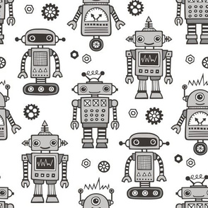 Retro Robots in Black & White Grey on White