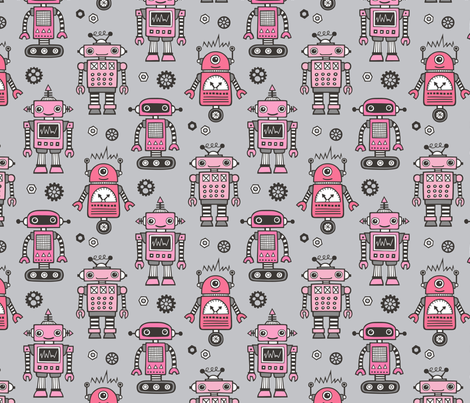 Retro Robots Pink on Grey fabric by caja_design on Spoonflower - custom fabric