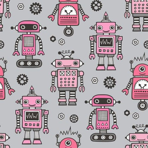 Retro Robots Pink on Grey