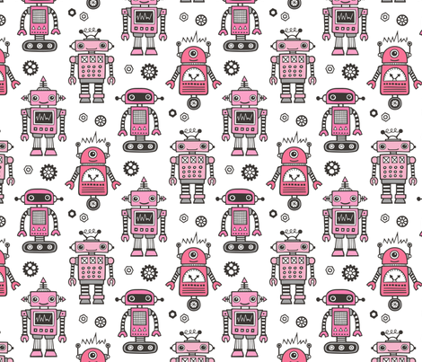 Retro Robots in Pink fabric by caja_design on Spoonflower - custom fabric