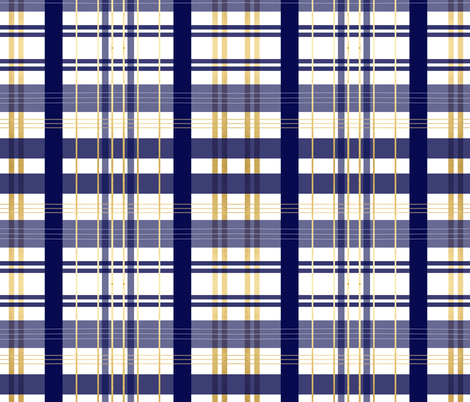 navy blue and gold plaid navy buffalo check notre damn fabric by jenlats on Spoonflower - custom fabric