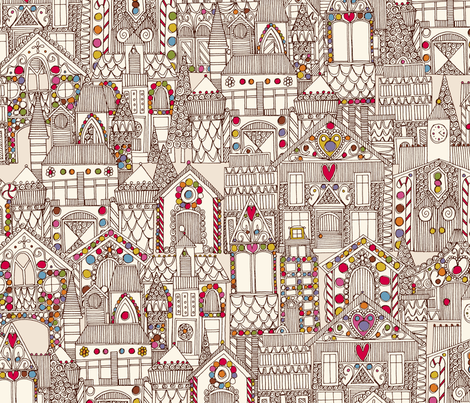 gingerbread town fabric by scrummy on Spoonflower - custom fabric