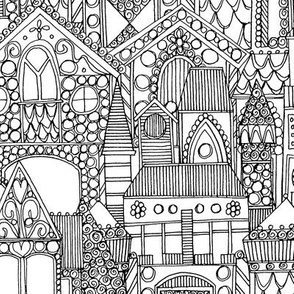 gingerbread town black white