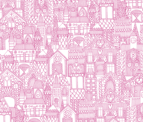 gingerbread town pink white fabric by scrummy on Spoonflower - custom fabric