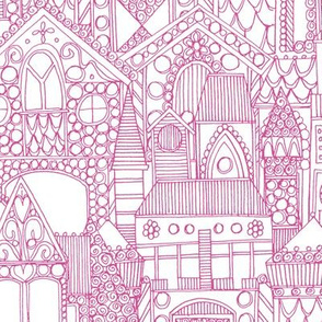 gingerbread town pink white