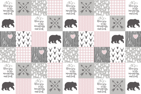 To The Mountains - Wholecloth Blush&Grey fabric by longdogcustomdesigns on Spoonflower - custom fabric