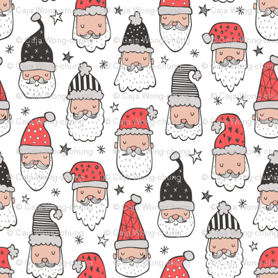 Christmas Santa Claus with Stars on White Smaller