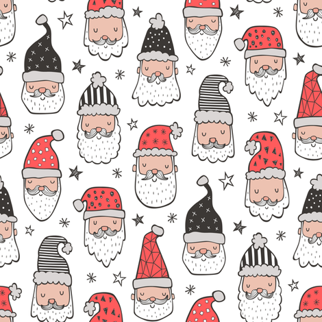 Christmas Santa Claus with Stars on White Smaller fabric by caja_design on Spoonflower - custom fabric