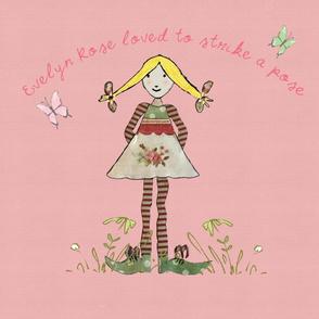 Blonde Evelyn Rose pink backgound