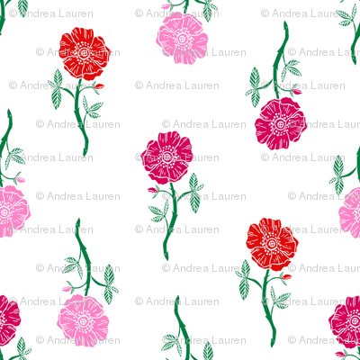rose // valentines floral fabric roses flowers valentine's day white pink