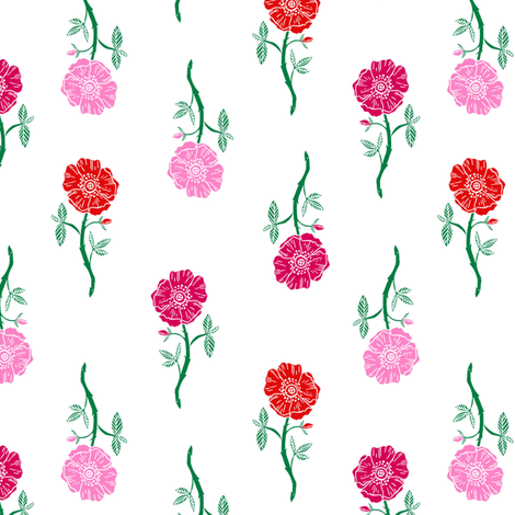 rose // valentines floral fabric roses flowers valentine's day white pink fabric by andrea_lauren on Spoonflower - custom fabric