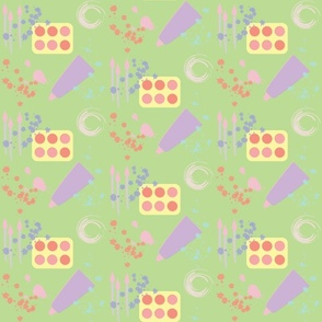 Art supplies- Green 6x6 Half Drop