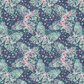 Blue green and pink paisley butterfly