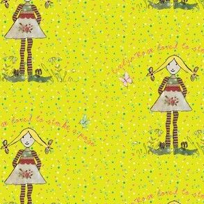 Blonde Evelyn Rose on yellow spotted background