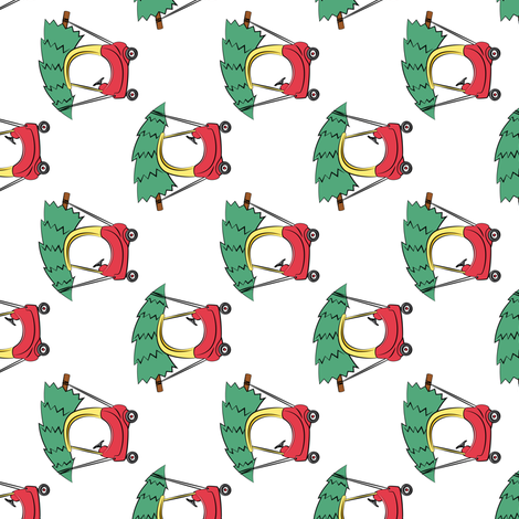 (small scale) kids car with Christmas tree (90) fabric by littlearrowdesign on Spoonflower - custom fabric