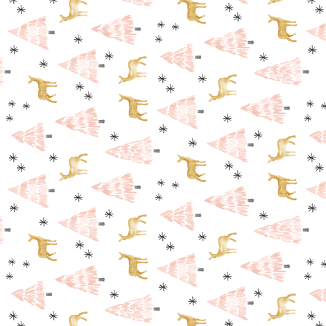 (small scale) holiday deer - blush (90) fabric by littlearrowdesign on Spoonflower - custom fabric