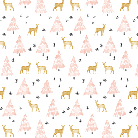 (small scale) holiday deer - blush fabric by littlearrowdesign on Spoonflower - custom fabric