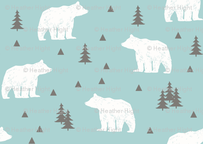 Woodland Bears // Mint White Gray