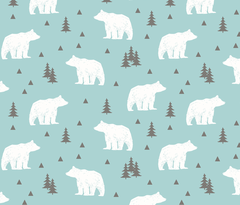 Woodland Bears // Mint White Gray fabric by heatherhightdesign on Spoonflower - custom fabric
