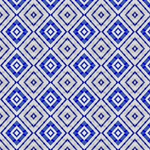 Modern Diamond Pattern in Blue and Silver