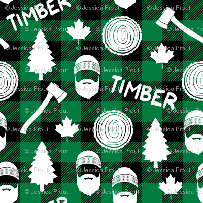 lumberjack - timber - buffalo plaid - green