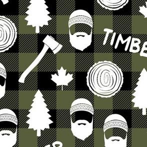 lumberjack - timber - buffalo plaid - olive