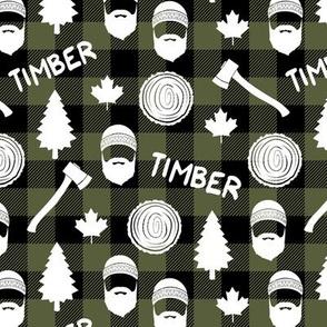 (small scale) lumberjack - timber - buffalo plaid - olive