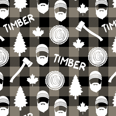(small scale) lumberjack - timber - brown plaid fabric by littlearrowdesign on Spoonflower - custom fabric